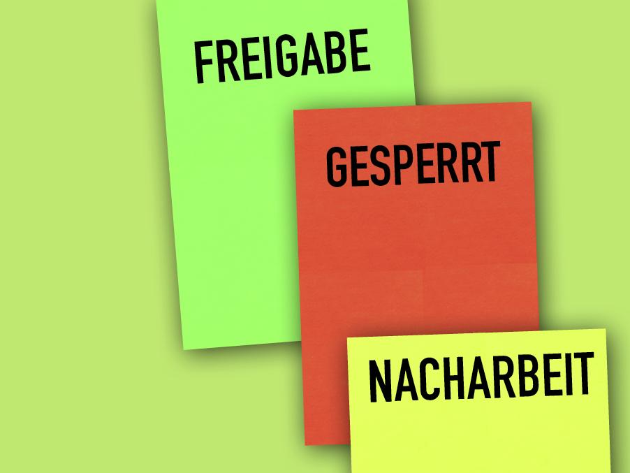 Freigabekarten, Gesperrtkarten und Nacharbeitkarten von sonderfarben-druck24.de